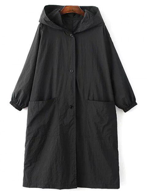 sale Letter Print Loose Hooded Trench Coat - BLACK L Mobile