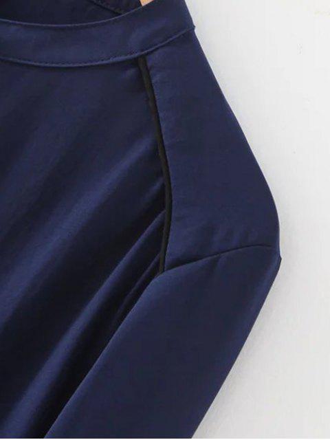 shop Double Pockets Chiffon Shirt - WHITE M Mobile
