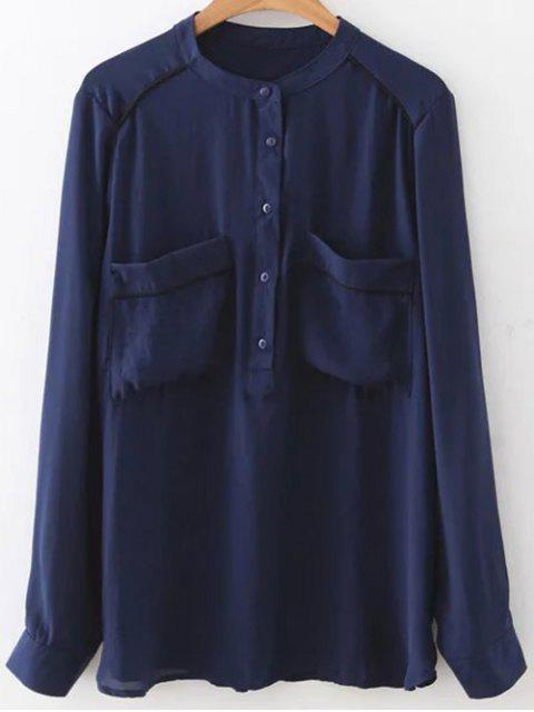 trendy Double Pockets Chiffon Shirt - PURPLISH BLUE M Mobile