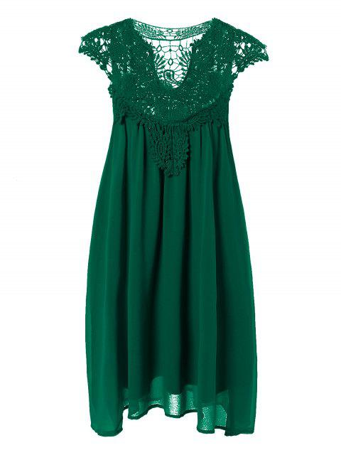 hot Plus Size Lace Chiffon Dress - BLACKISH GREEN 3XL Mobile
