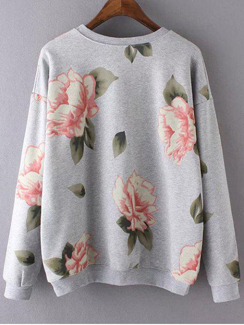new Casual Floral Print Sweatshirt - GRAY S Mobile