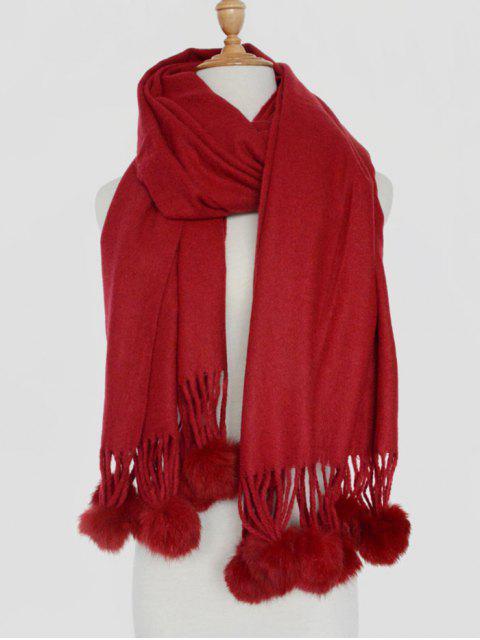 Pequeña bola borrosa mantón sólido de la bufanda - Vino Rojo  Mobile