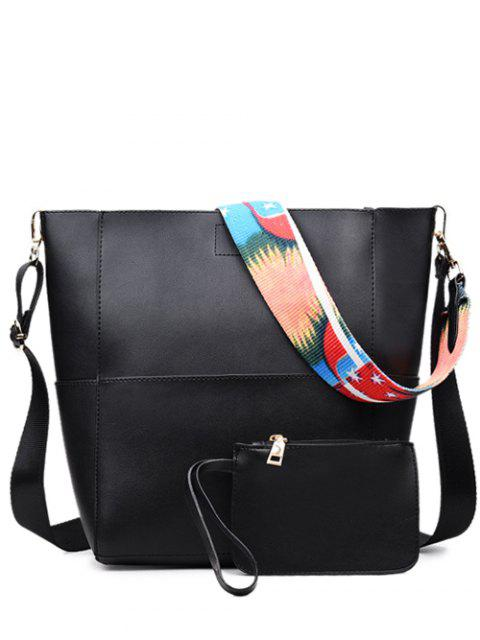 outfit Print Strap PU Leather Crossbody Bag - BLACK  Mobile