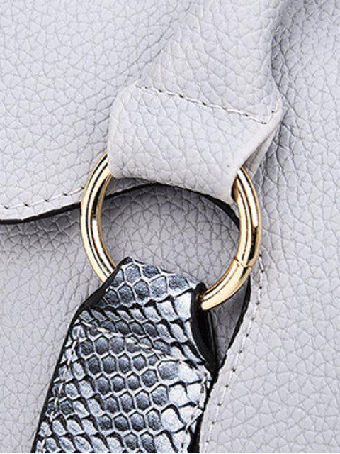 hot Textured PU Snake Print Tote Bag -   Mobile