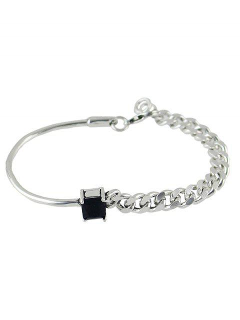shops Vintage Faux Crystal Chain Geometric Bracelet - SILVER  Mobile