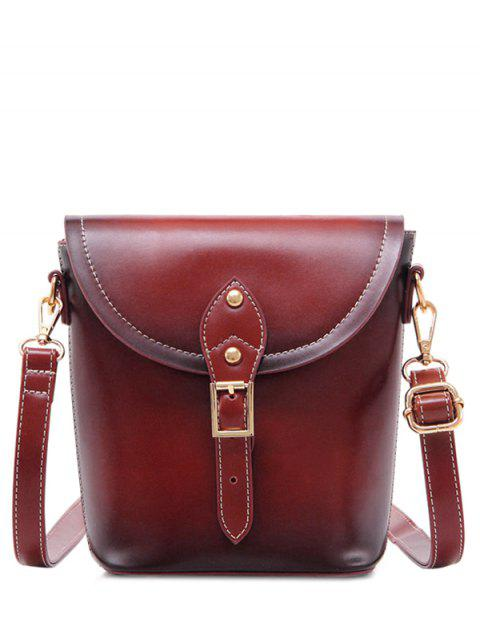 shop Vintage Buckle PU Leather Crossbody Bag - WINE RED  Mobile