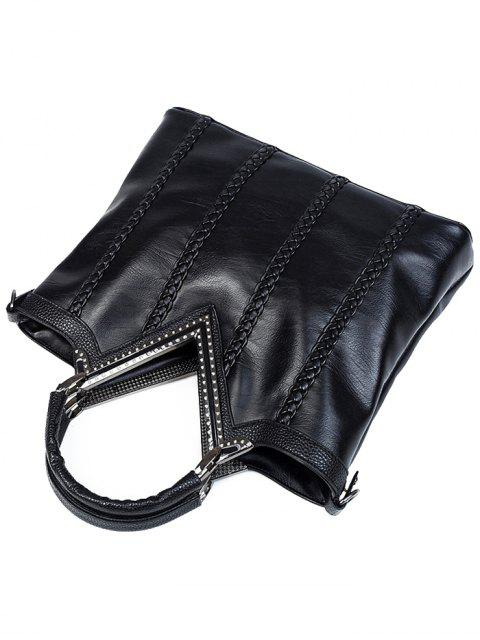 fancy Braid Metal PU Leather Tote Bag -   Mobile