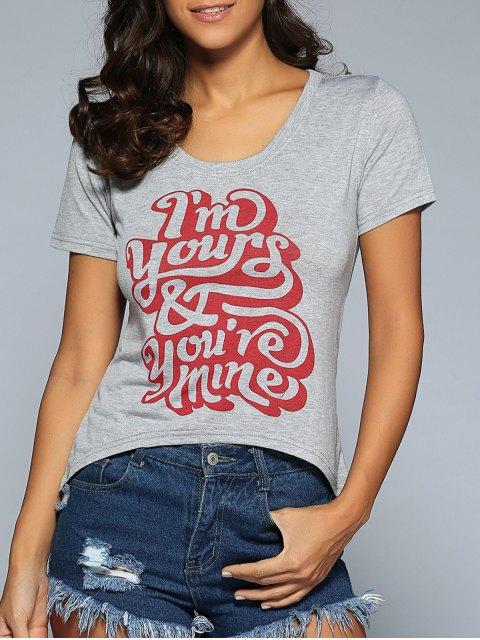Lettre T-shirt imprimé - Gris M Mobile