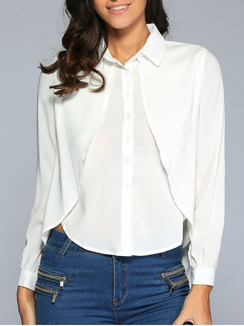 women's Backless Slit Tuxedo Shirt - WHITE S Mobile