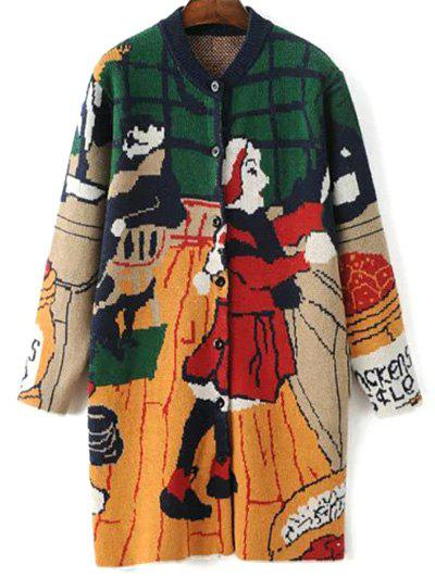 Cute Cartoon Print Cardigan - Green