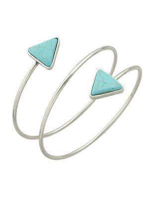 Triangle Faux Turquoise Arm Chain - Silver
