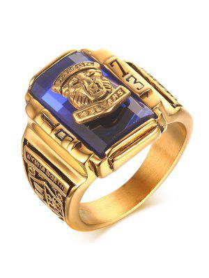 Faux Sapphire Geometric Tiger Head Emboss Ring