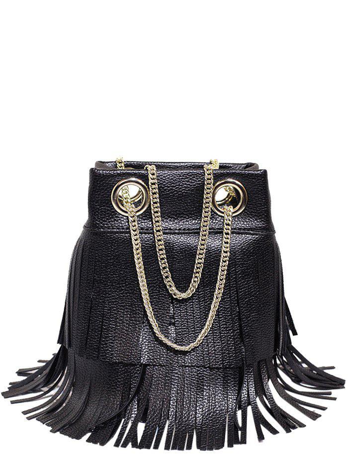 Chain Fringe PU Leather Crossbody Bag