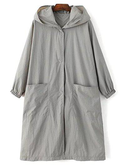 Letter Print Loose Hooded Trench Coat - GRAY M