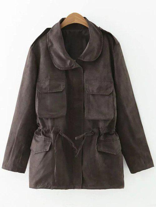 Drawstring Faux Suede Trench Coat - DEEP BROWN M