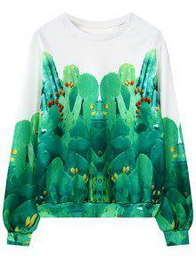 Cuello Cactus Ronda De Impresión Con Capucha - Verde