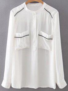Poches Double Chiffon Shirt - Blanc L