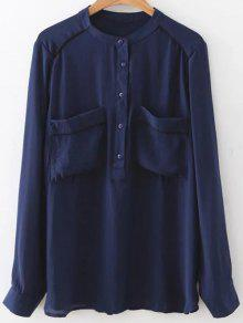Double Pockets Chiffon Shirt - Purplish Blue M