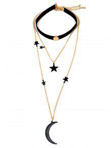 Luna Y Estrella Colgante Gargantillas - Negro