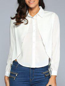 Backless Slit Tuxedo Shirt - Blanc 2xl