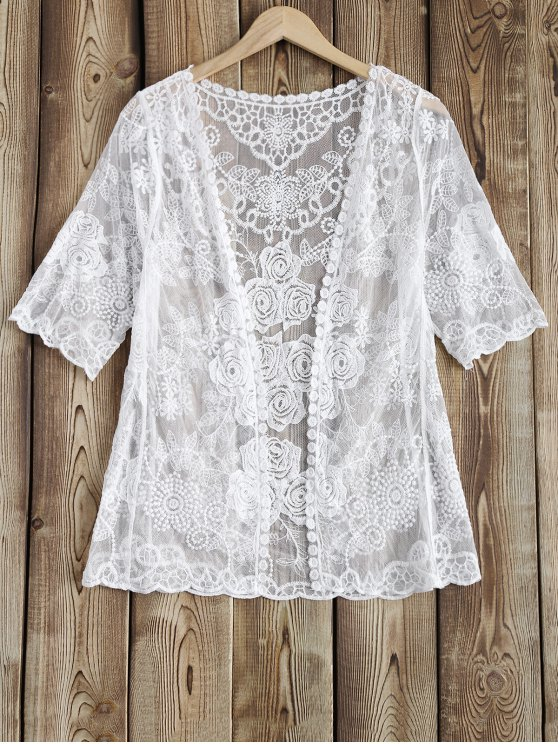 outfits Sheer Lace Cover Up - WHITE ONE SIZE