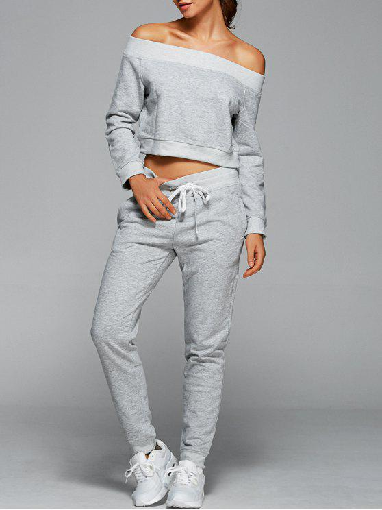 buy Sweatshirt With Pants Gym Outfits - LIGHT GRAY M