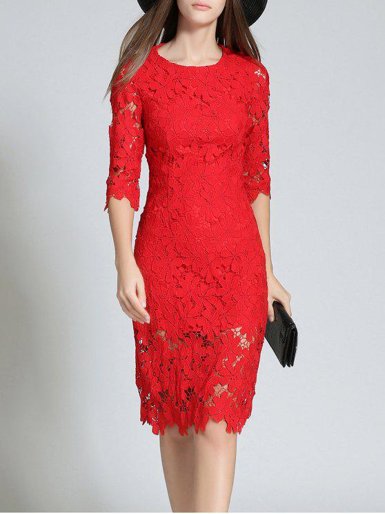 unique Round Neck 3/4 Sleeve Full Lace Bodycon Wedding Dress - RED L