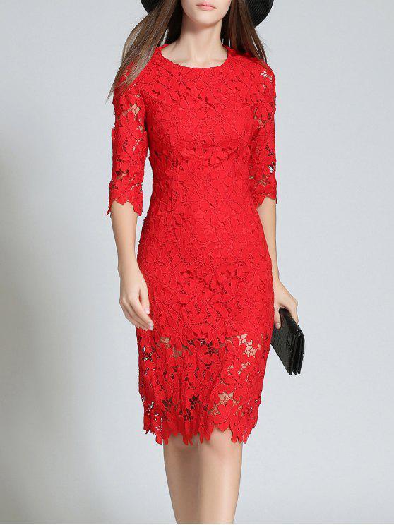Cuello redondo 3/4 manga de encaje completo Bodycon vestido de novia - Rojo L