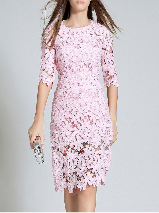 fashion Round Neck 3/4 Sleeve Full Lace Bodycon Wedding Dress - PINK S