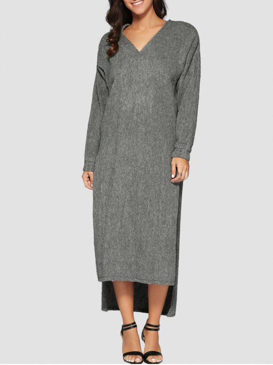 unique Maxi Slit Sweater Dress - GRAY L