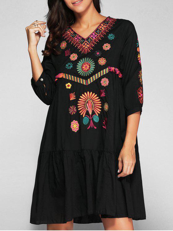 Vestido de Bata con Bordado - Negro M