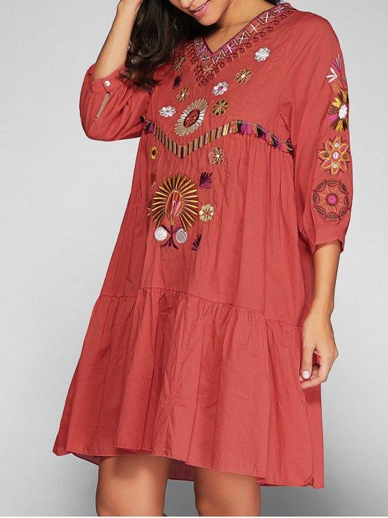 Robe A ligne avec broderie ethnique - Tangerine M
