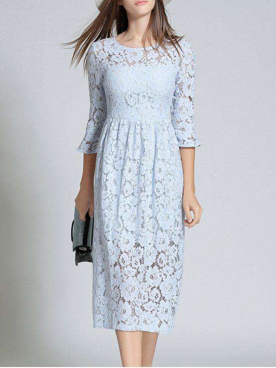 shop Round Neck Flare Sleeve Lace Dress - LIGHT BLUE S