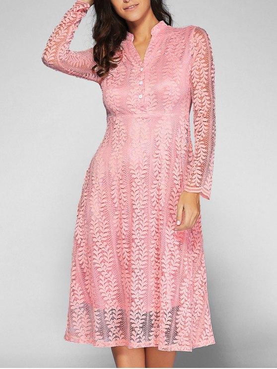 outfits Leaf Pattern Lace Dress - PINK L