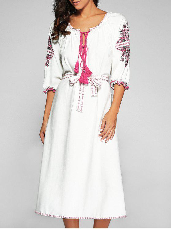women Belted Embroidered Midi Dress With Sleeves - OFF-WHITE S
