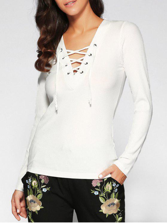 new V Neck Long Sleeve Lace Up T-Shirt - WHITE S
