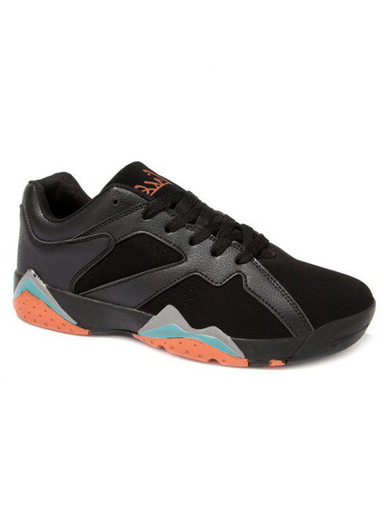 بو تقسم الجلد المدبوغ الدانتيل متابعة الأحذية الرياضية - أسود 43