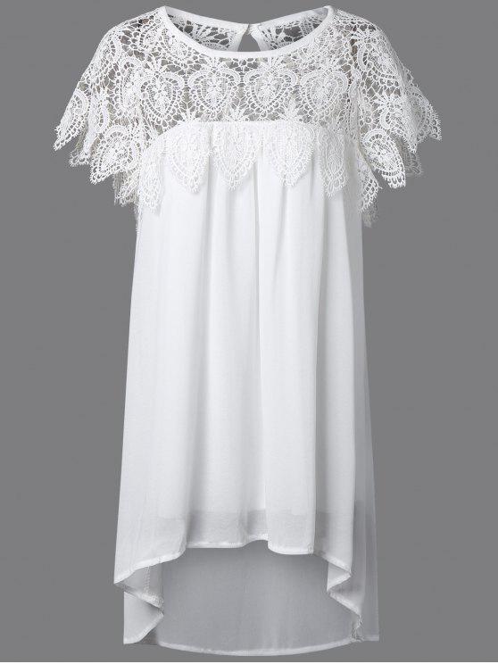 Plus Size Vestido Assimétrico com Lace Emenda para Mulher - Branco XL