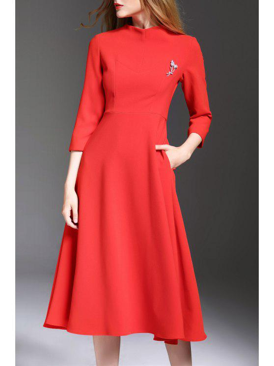 ead1a2b84abd4 34% OFF] 2019 Solid Color Midi Swing Dress In RED | ZAFUL