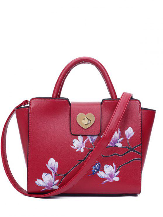 affordable Winged Magnolia Print Tote Bag - RED