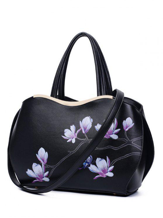 Magnolia de metal de impresión bolsa de asas - Negro