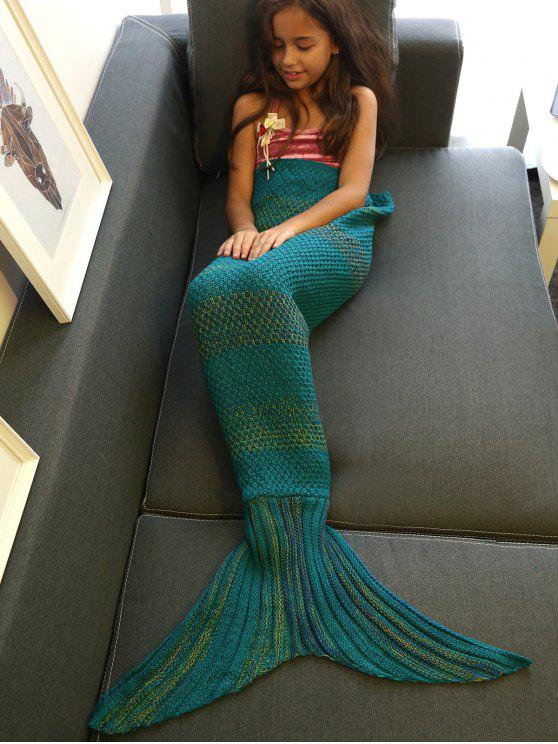 trendy Stripe Knitted Mermaid Tail Blanket - GREEN BLUE