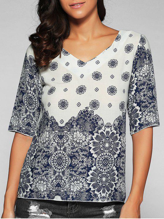 Impreso cuello en V Camiseta - Azul y Blanco XL