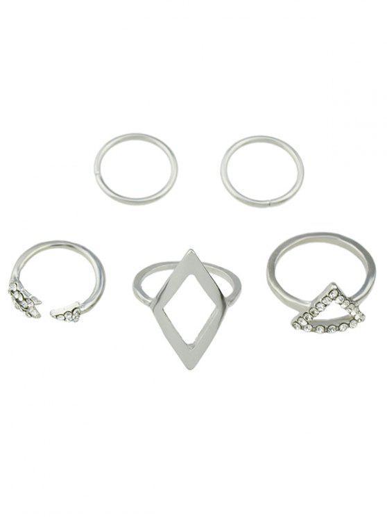 Ensemble d'anneaux de doigt en alliage en forme triangle avec décoration de diamants artificieux - Argent Taille Unique