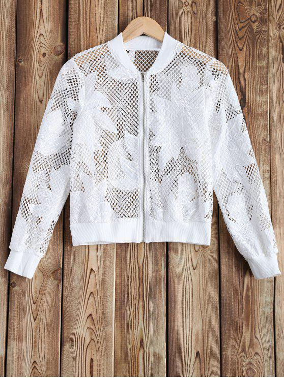 womens Openwork See-Through Crochet Jacket - WHITE 2XL