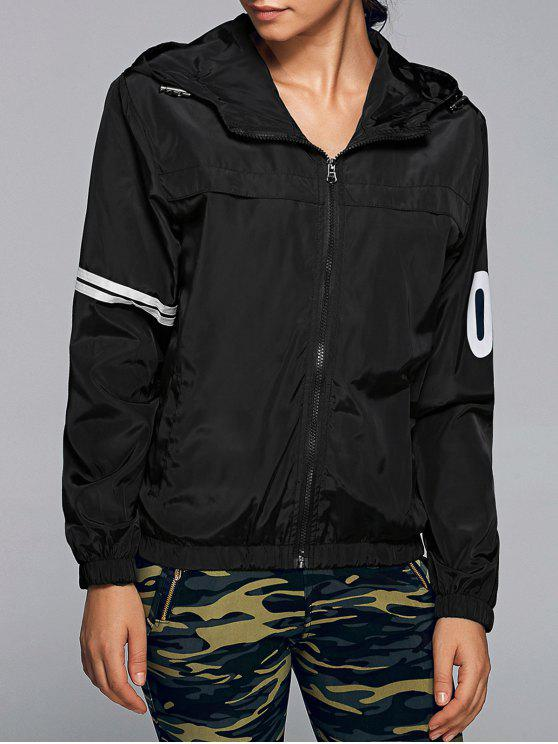 outfits Zip Up Hooded Jacket - BLACK XL