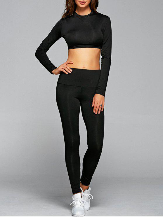 Outfit de Gimnasio Top Corto y Leggings - Negro S