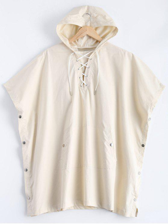 fancy Side Slit Hooded Lace Up Pullover Cape - OFF-WHITE S