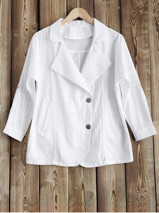 fashion Lapel Blazer - WHITE M