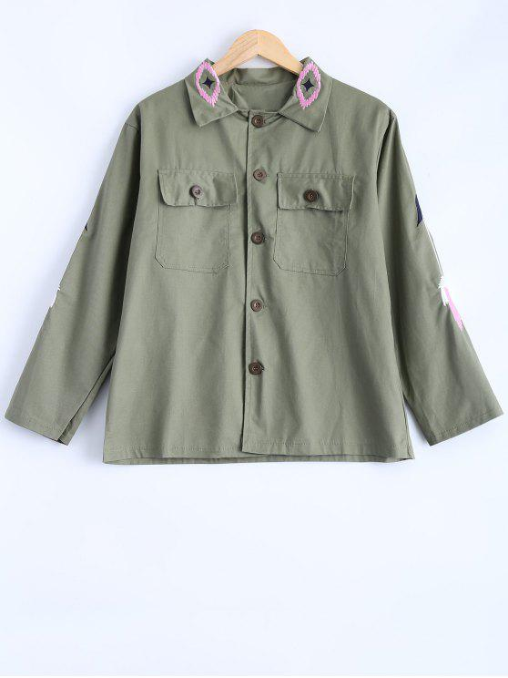buy Embroidered Utility Jacket - ARMY GREEN ONE SIZE